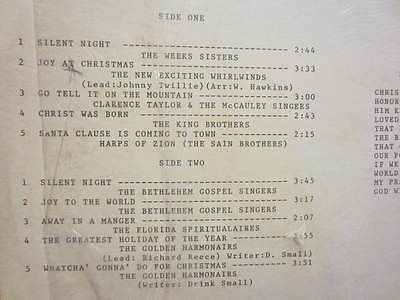 Description Variety vintage gospel artists singing christmas songs including The weeks sisters, The new exciting whirlwinds, Clarence Taylor, ...